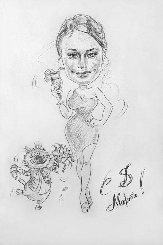 Прекрасная девушка шарж в подарок на 8 марта